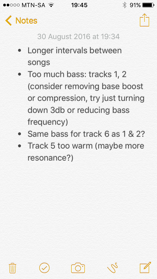 Quick mix notes