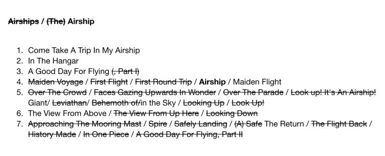 Airship Album Draft Tracklist