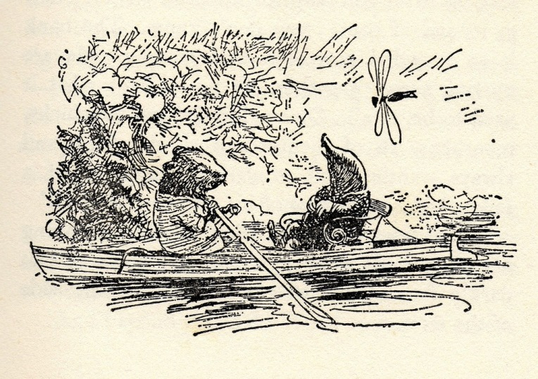 An illustration by Ernest H. Shepard from The Wind in the Willows by Kenneth Grahame