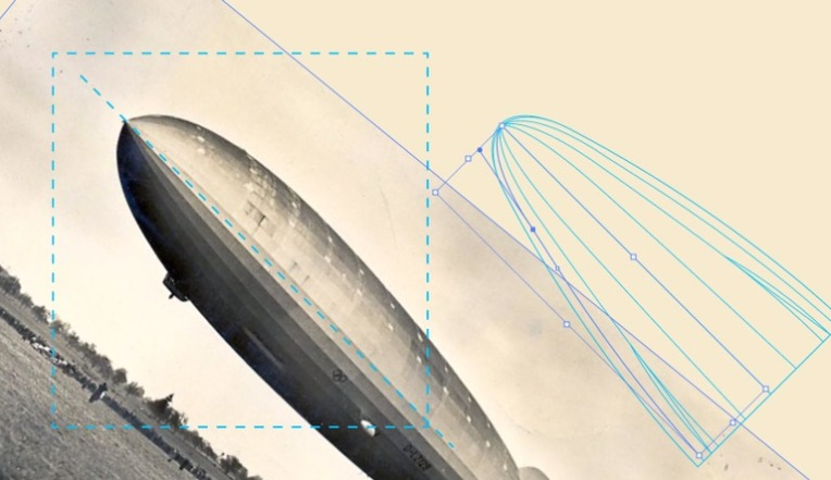 A screenshot of an airship photograph and vector rendering