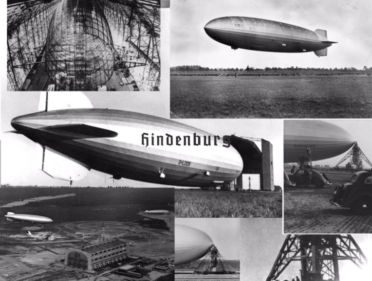 Black and white photographs of the Hindenburg airship