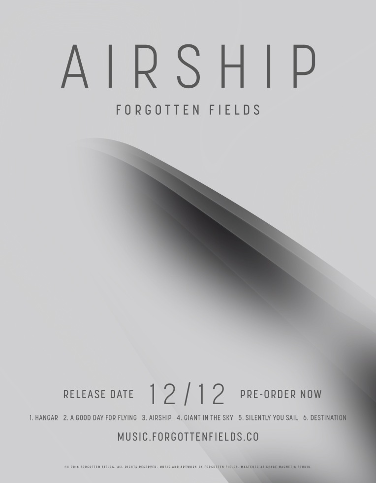 Poster announcing launch of Forgotten Fields Music and Airship album pre-order