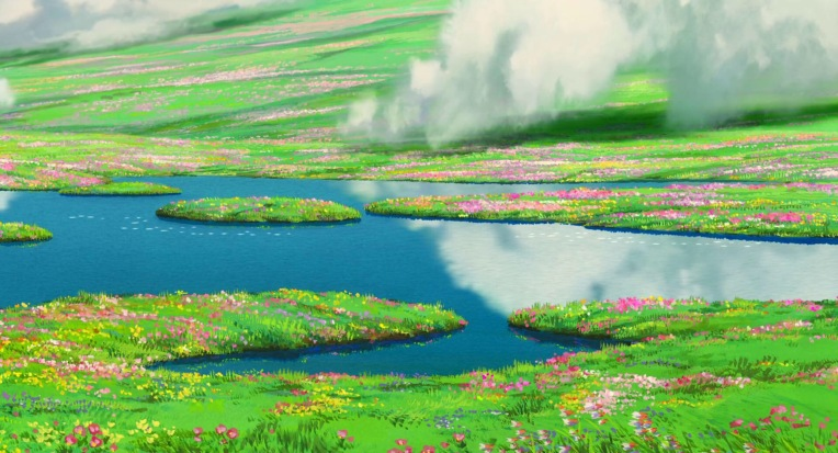 A colourful field of wildflowers with pools of water and drifting clouds
