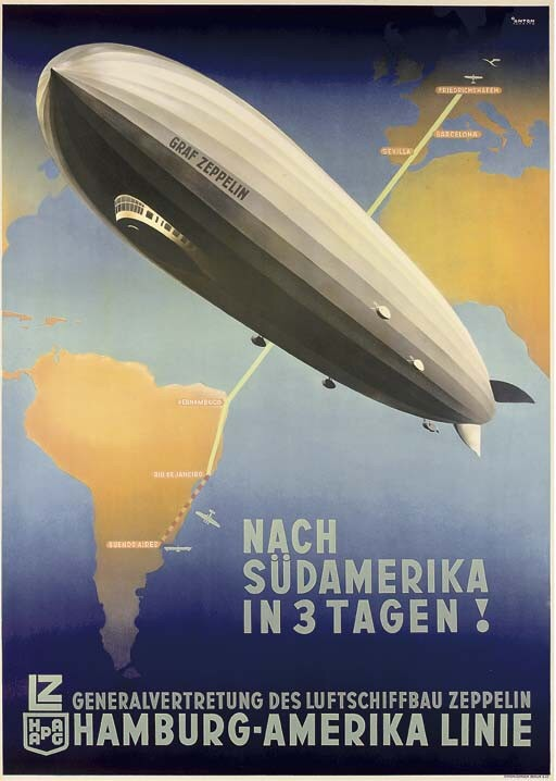 Europe to South America in three days via airship (and aeroplane)! Poster by Ottomar Carl Joseph Anton (1895-1976)