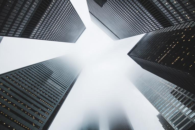Skyscrapers in the fog
