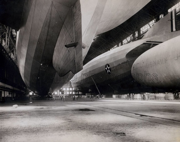 US Navy airship Los Angeles in the giant Hangar at Lakehurst, New Jersey