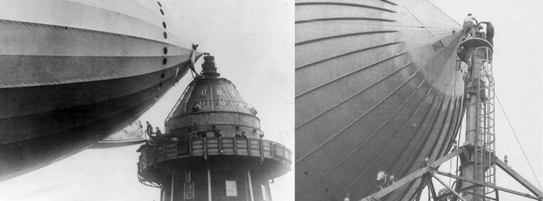 Left: British MPs walk onto the R101 airship gangplank, in Cardington, England, in the 1920s. (Image: Library of Congress) Right: A close-up view of an airship being prepared for undocking. (Image: Unknown)
