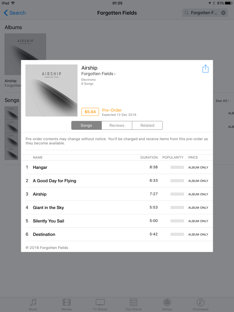 A screenshot of the Airship pre-order on iTunes
