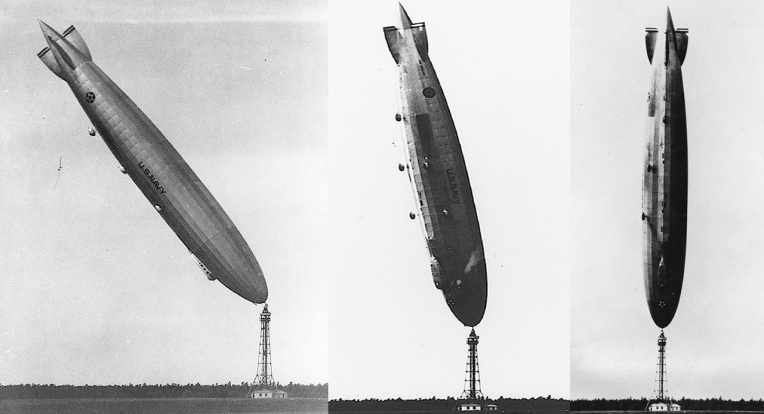 USS Los Angeles does a spectacular nose stand whilst tied to the mooring mast at Lakehurst, New Jersey (1926). The 200-metre (660-foot) airship was upended by a turbulent wind, but slowly righted itself. There were no serious injuries to the crew of 25.