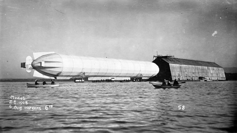 Airship LZ 4 on Lake Constance, Germany, 4 August 1908.