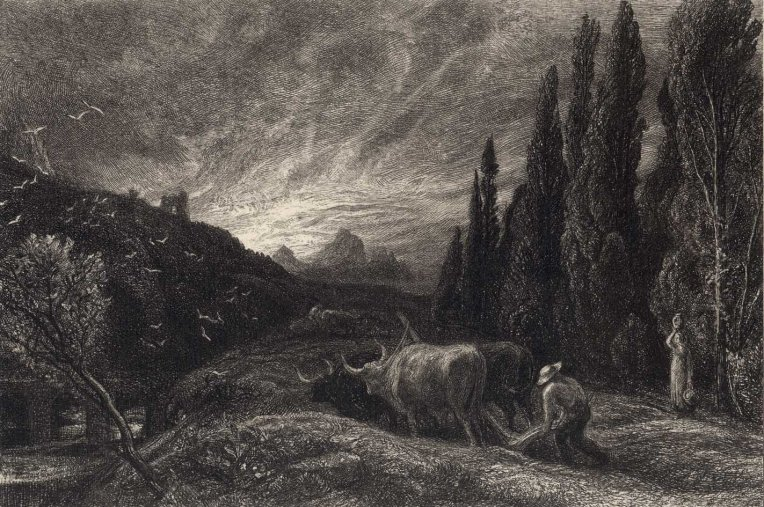 """The Early Ploughman"", circa 1860, an etching by Samuel Palmer (1805–1881). Source: Tate"