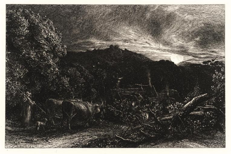"""The Weary Ploughman"", circa 1860, the companion piece to ""The Early Ploughman"", an etching by Samuel Palmer (1805–1881). Source: The British Museum"