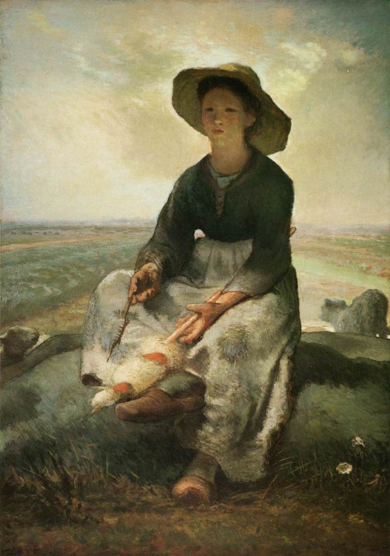 Young Shepherdess by Jean-François Millet (1870–73) in oil. Public Domain.